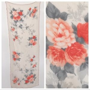 Vtg Silk Scarf Sheer Coral Roses with Grey Accents